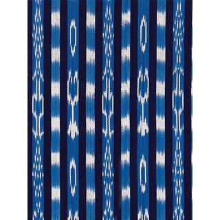 Scalamandre Jakarta Ikat Stripe, Indigo Fabric For Sale