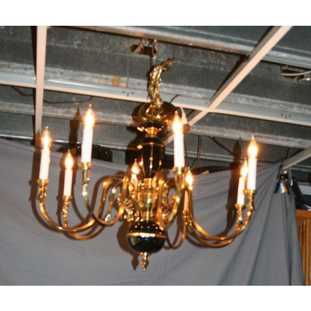 Black & Gold Porcelain and Brass Chandelier - Image 3 of 8