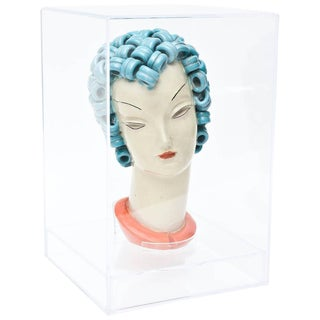 Goldscheider Inspired Czech Signed Ceramic Stylized Art Deco Head For Sale