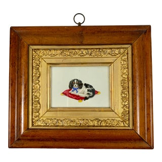 English Regency Period Fruitwood Framed Watercolor, a King Charles Spaniel For Sale