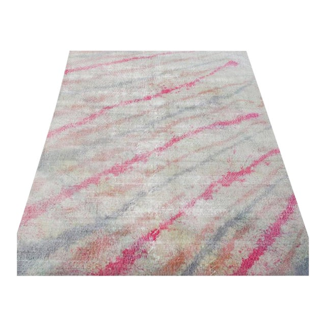 "Modern Pink Colorful Handmade Distressed Wool Rug - 6'5"" X 10'4"" For Sale"
