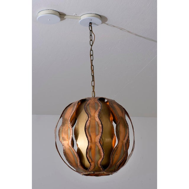 Tom Greene Torch Cut Brutalist Pendant in Brass by Tom Greene, 1960s For Sale - Image 4 of 10