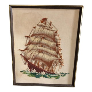 Vintage String Art/Needlepoint Sailing Ship