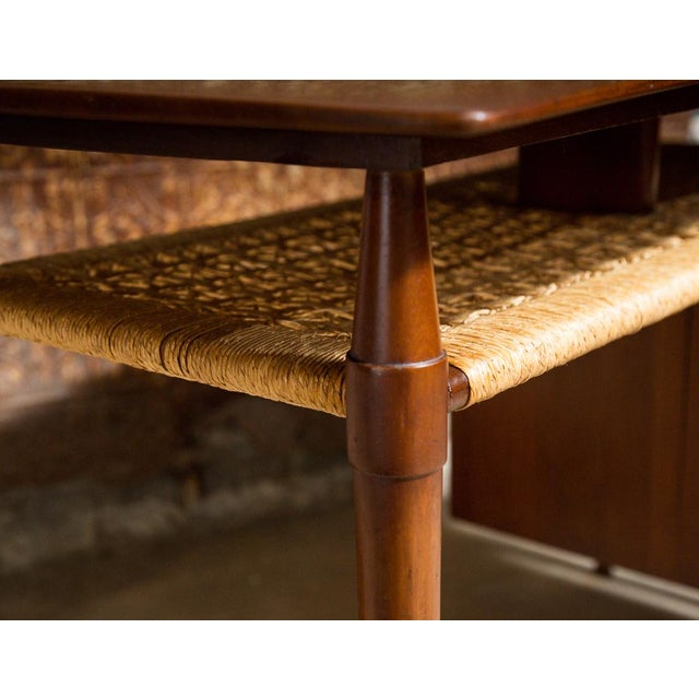 Mid-Century Desk with Wicker Shelf - Image 5 of 11