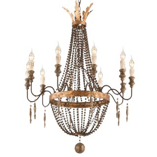 Large French Aged Wood and Bronze and Gold Leaf 10-Light Chandelier