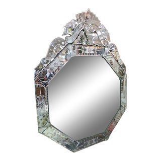 Vintage Style Venetian Octagonal Mirror For Sale