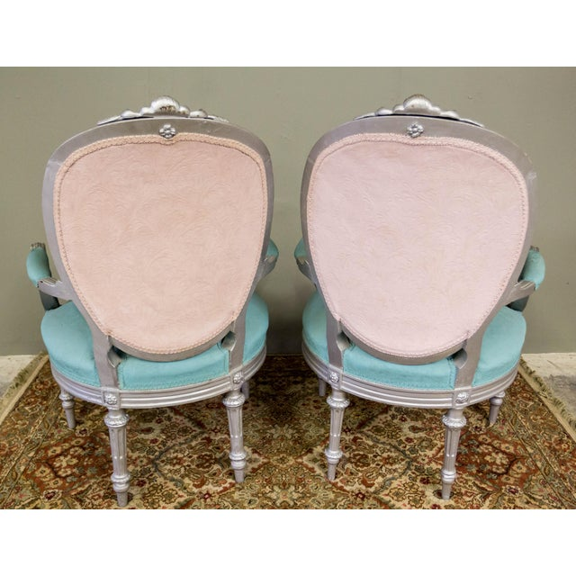 Artist Repainted Pastel Fauteuil Chairs- A Pair - Image 6 of 7
