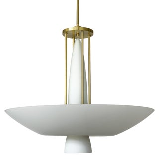 Lightolier Art Deco Style Brass and White Glass Chandelier For Sale