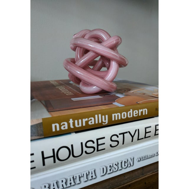 Abstract Pink Blown Glass Twisted Knot Sculpture For Sale - Image 3 of 12