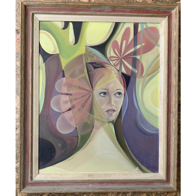 1970s Vintage Abstract Female Portrait Painting For Sale - Image 4 of 4