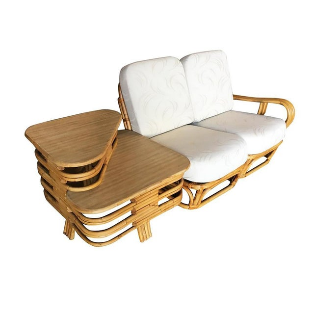 """Yellow Rare Paul Frankl Style Square Pretzel """"S"""" Arm Rattan Sofa W/ 2 Tier Table For Sale - Image 8 of 8"""