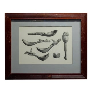 19th Century Inuit Antique Carved Tools Engraving For Sale
