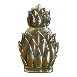 Vintage Pineapple Solid Brass Bookend For Sale