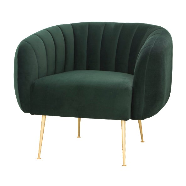 Channeled Side Chair in Dark Green For Sale