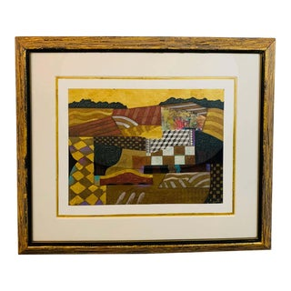 Contemporary Collage Painting Matted and Custom Framed For Sale