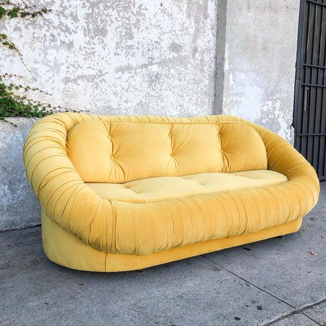 Yellow Vintage Lemon Yellow Velvet Reupholstered Loveseat For Sale - Image 8 of 8