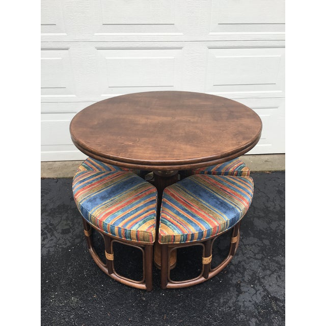 1970's Vintage Walnut Adjustable Games Table & Stools- 5 Pieces For Sale - Image 11 of 11