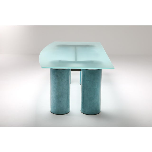 Acerbis, turquoise desk or table manufactured by designed by David Law, Lella and Massimo Vignelli. An opalescent crystal...