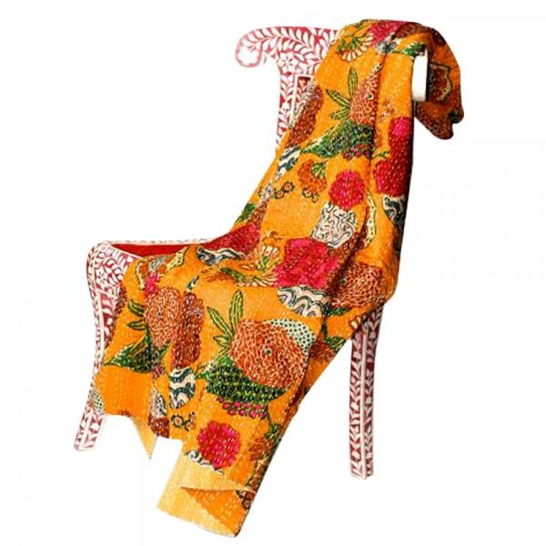 Yellow Floral Kantha Throw - Full - Image 2 of 2