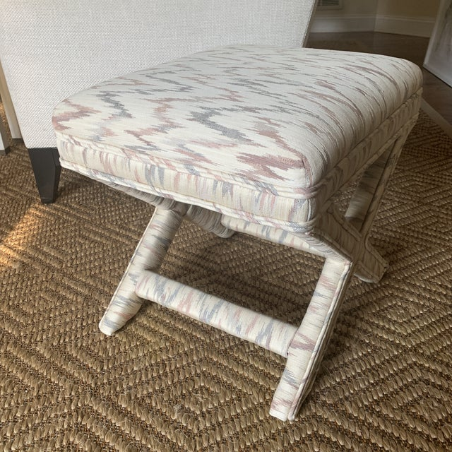 Ivory Vintage Weiman Upholstered X Bench For Sale - Image 8 of 13