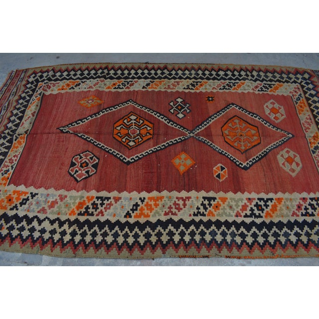 Islamic Semi Antique Persian Handwoven Kilim Wool Rug - 4′8″ × 8′5″ For Sale - Image 3 of 6
