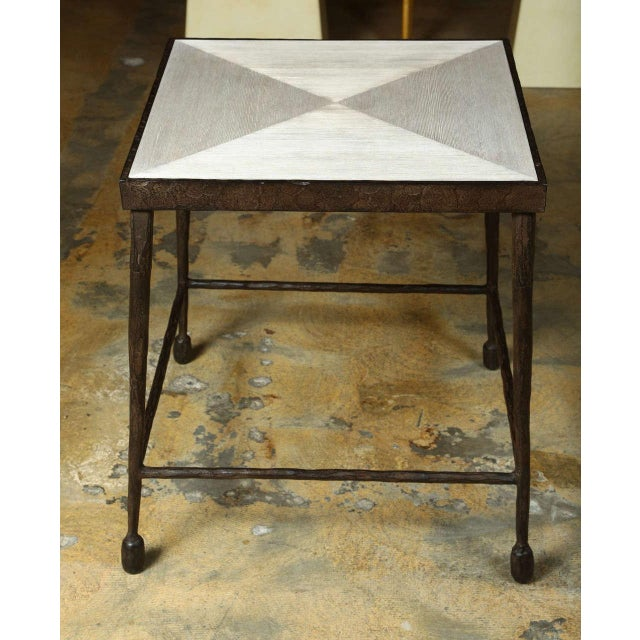 Customizable Paul Marra Iron and Douglas Fir Inset Side Table - Image 2 of 8