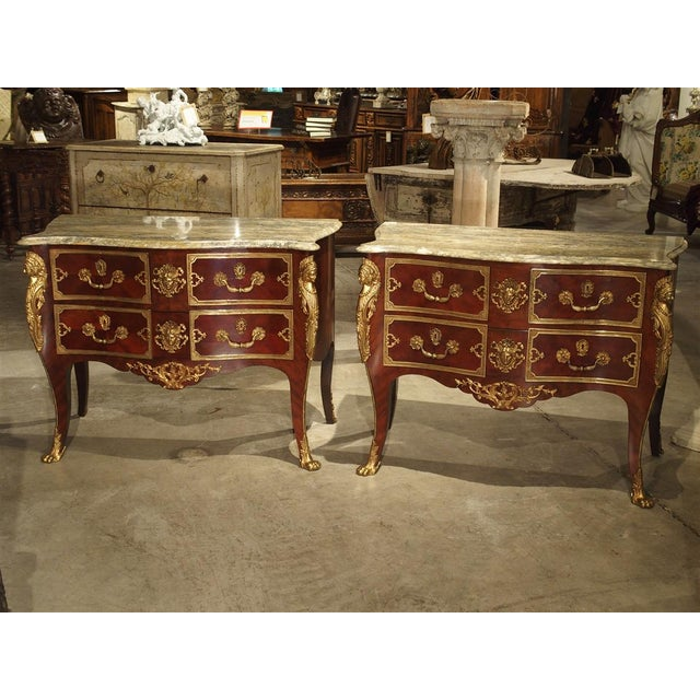 Pair of Early 1900s Mahogany and Gilt Bronze Mounted Louis XV Style Commodes For Sale - Image 9 of 13
