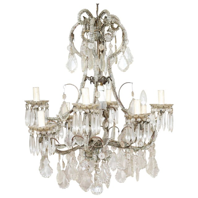 19th Century Italian Louis XVI Style Bronze and Crystals Swarovski Chandelier For Sale - Image 9 of 9