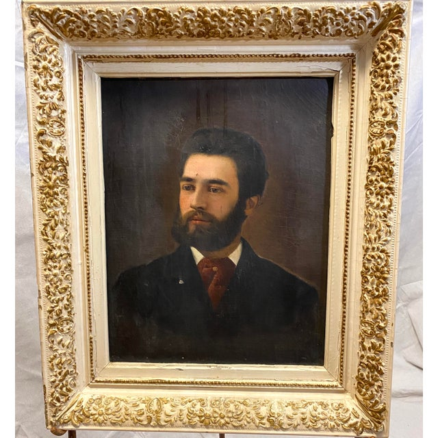 Antique 19th C. Oil on Canvas Portrait of a Handsome Bearded Man White Gilt Gold Frame For Sale - Image 11 of 11