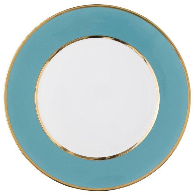 "Biedermeier ""Schubert"" Charger in Emerald Green & Narrow Gold Rim For Sale - Image 3 of 13"