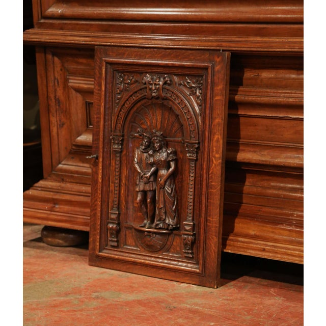 French 19th Century French Henri II Carved Oak Cabinet Door With High Relief Carvings For Sale - Image 3 of 6