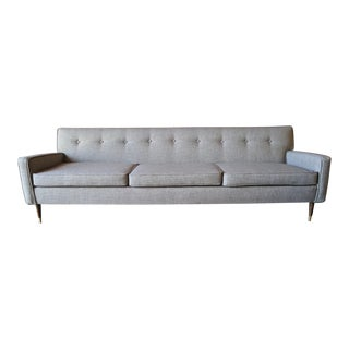 Mid Century Reupholstered 3 Seat Sofa With Brass Tipped Walnut Legs For Sale