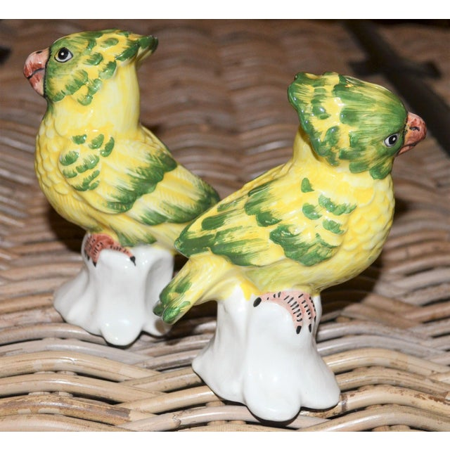 1970s 1970s Italian Majolica Pottery Parakeets - a Pair For Sale - Image 5 of 11
