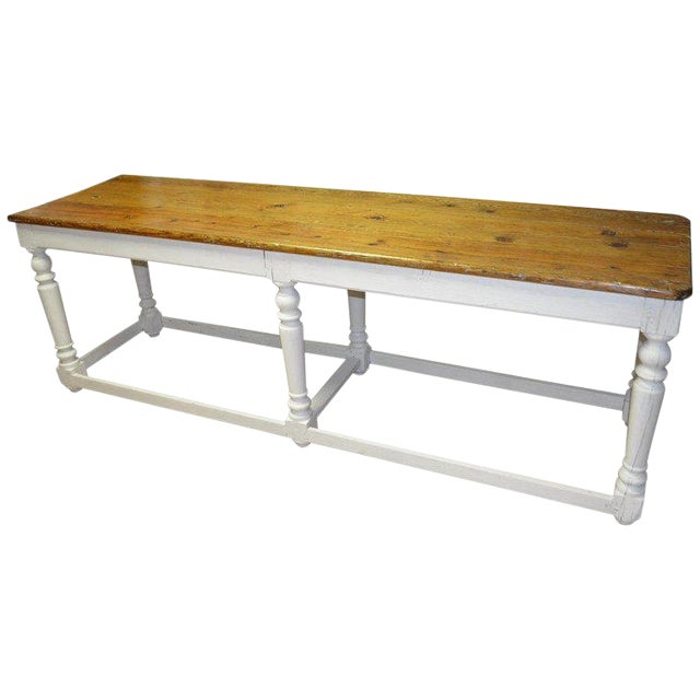 Kitchen Island Restaurant Prep From Rectory Table 100 Years Old. Ships Free. For Sale