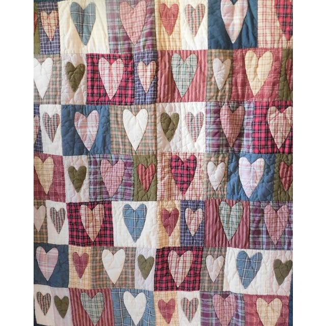 Blue Child's Vintage Patchwork Heart Quilt For Sale - Image 8 of 13