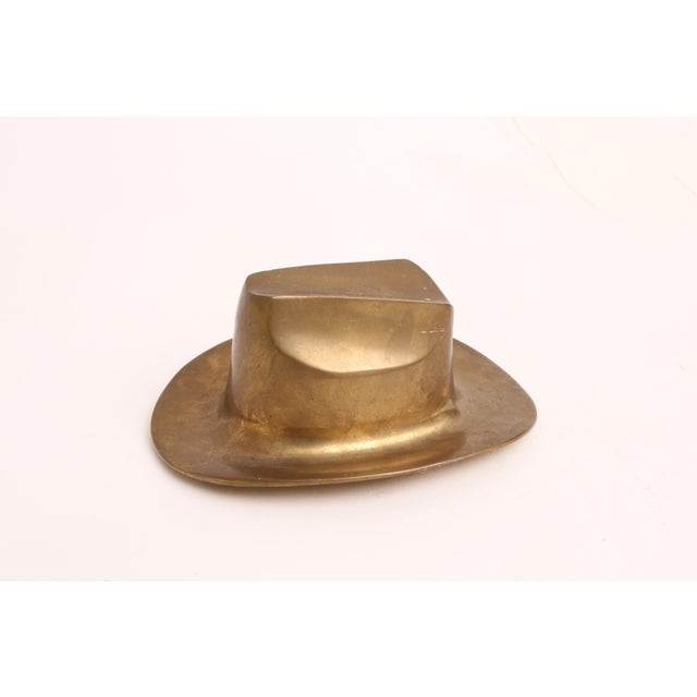 Country Vintage Brass Cowboy Hat Paperweight For Sale - Image 3 of 6