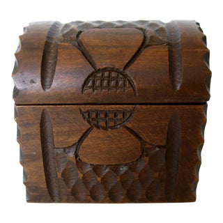 Hand-Carved Wood Keepsake Box For Sale