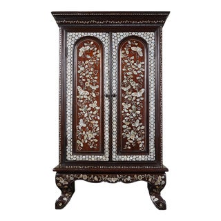 19th C. French Colonial Cabinet With Mother of Pearl For Sale