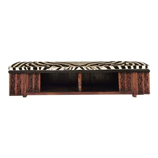 Restored Chinese Bench with Zebra Hide Cushion