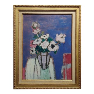 Sarkis Sarkisian Still Life of White Flowers Oil Painting For Sale