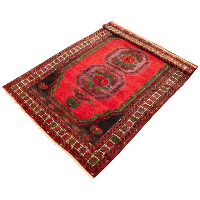 Boho Chic Hand-Knotted Turkish Red Rug For Sale - Image 3 of 9