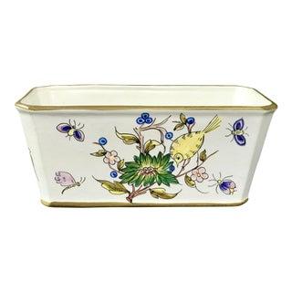 Vintage Mid Century Italian Painted Ceramic Rectangular Planter For Sale