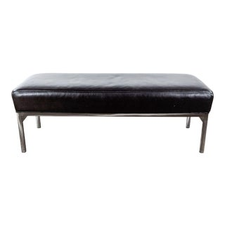 Room & Board Leather and Steel Bench in Urbano Brown For Sale