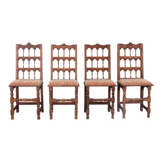 1940s Antique Spanish Colonial Dining Chairs- Set of 4 For Sale