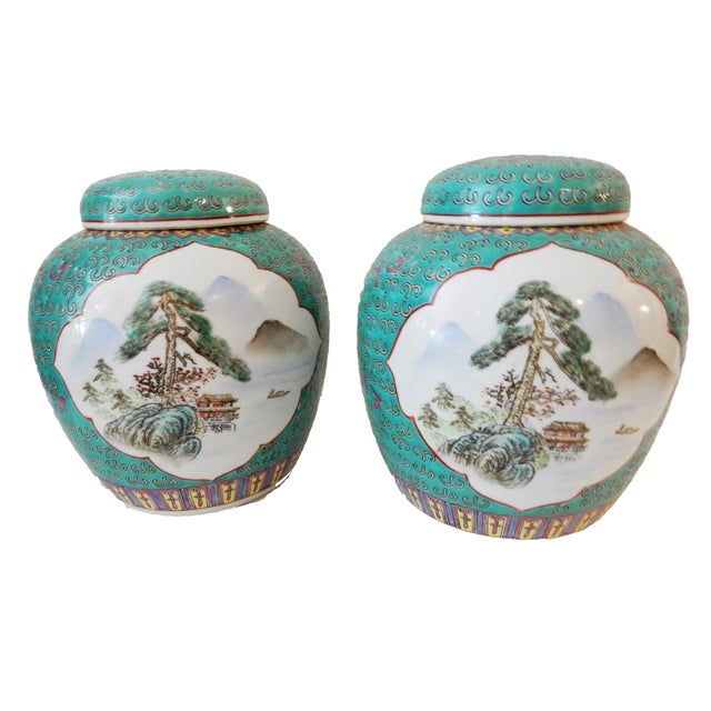 Turquoise Ginger Jars - A Pair For Sale