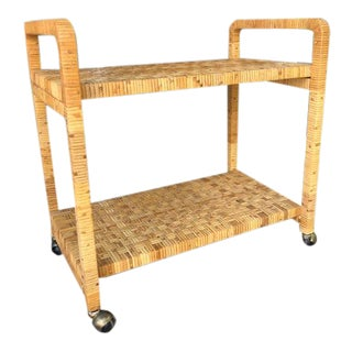 1980s Boho Chic Rattan Bar Cart For Sale