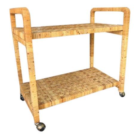 1980s Boho Chic Rattan Bar Cart For Sale