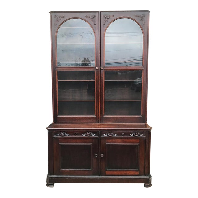 Antique English Victorian Mahogany Secretaire Bookcase Secretary Desk - Image 1 of 11