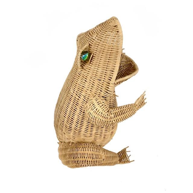 Vintage 1970s Oversized Wicker Frog Wastebasket For Sale - Image 4 of 6
