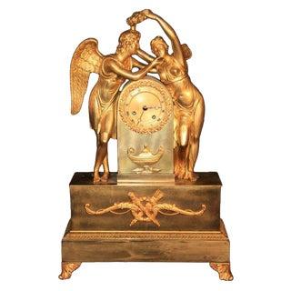 19th Century French Empire Gilt Dore Bronze Figural Amour & Psyche Mantel Clock For Sale